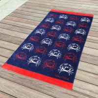 Best Crab Fitted Colorful Printed Beach Towels , Microfiber Male Beach Towels wholesale
