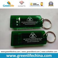 Quality Customized Green Flat Alerting Whistle White Logo Printed w/Key Ring for sale