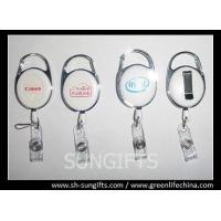 Quality Solid white carabiner badge reel with silk screen printing logo for sale