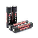 high capacity 3000mAh Soshine 3.7V Li-ion 18650 Protected Battery, best for flashlight
