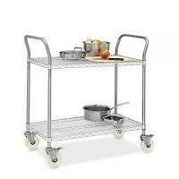 """Quality Restaurant Wire Utility  Cart , 2 - Layer Wire Mesh Rolling Cart 30""""W X 14""""D X 38""""H for sale"""