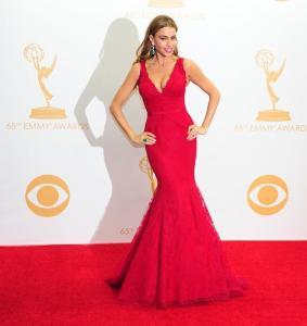 Quality V Neck Red Lace Celebrity Evening Dresses Sofia Vergara , Long Evening Gowns for sale