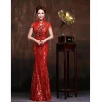 Quality Slim Sequined Beaded Qipao Wedding Dress Red Lace wedding gowns for Womens , Girls for sale