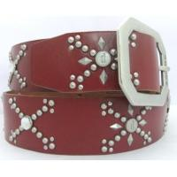 China Red leather stud belts for jeans western styles on sale