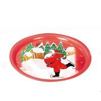 Quality Round Christmas Print Serving Tin Trays for sale