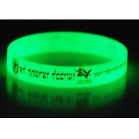 Quality Silicone Glow In The Dark Wristbands / Bracelets With 1 Color Silk Printed for sale
