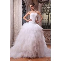 China White Beaded Ruffle Organza Wedding Bridal Dresses with Strapless Sweetheart Neckline on sale