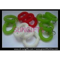 China Green/red/white wrist spiral key chain with key ring, key coil, coil key chain on sale