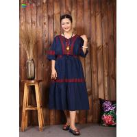 Quality Navy Blue Embroidered Cotton Dress Women Elegant And Comfortable Tunic for sale