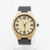 Quality Natural Maple Minimalist Leather Watch / Genuine Leather Wood Watch for sale