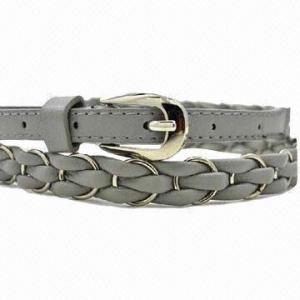 China Ladies' braided/skinny/jeans/PU belt with metal rings on sale