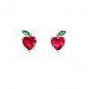 Summer 925 Silver Earrings Apple Heart Children Jewelry Fruit Colorful Shining for sale