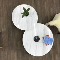 Quality Living Room Round Dining Tabletops Marble Stone Countertops With Metal Base for sale