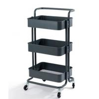 Quality Powder Coated Surface Supermarket Shelf Display 3 Tiers With Wheels for sale