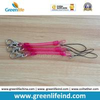 Quality Rose Red Slim Coil Key Chain W/Mini Lobster Claw Tether for sale