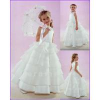 China Customize sleeveless beading satin wedding Flower Girls dress girl's gown F0013 on sale