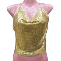 China Customized  Solid color metal mesh halter top  fashionable ladies clothing on sale