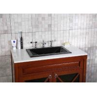 Quality Black Granite Countertops Single Sink Polished Treatment CNC Engraved for sale