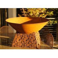 Quality Contemporary Design Corten Steel Fire Pit Bowl With Leaf Stand Rusty Finish for sale