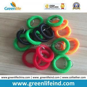 Quality Promotional Wholesale Plastic Wrist Coil Key Chain W/Split Ring for sale