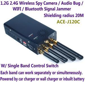 Quality 1.2G 2.4G Wireless Spy Camera Audio Bug WIFI Bluetooth Signal Jammer Blocker Single Switch for sale
