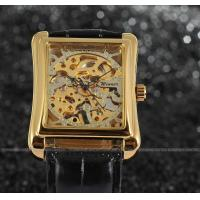 Buy cheap Winner mechanical Mens Wrist Watches leather band gold color Stainless steel from wholesalers
