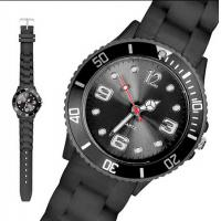 Best Fashion Male Black Ice Silicone Bracelet Watch Japan Movt 43MM Size for Giveaway Gift wholesale