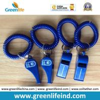 Quality Popular Sales Blue Plastic Wristband Coiled Holder w/Blue Custom Logo Imprinted Whistle for sale