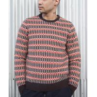 Quality 100 % Lambswool Jacquard Knit Sweater Fair Isle Floating For Male Striped for sale