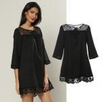 custom make black lace neckline and bottom fashion girl dress