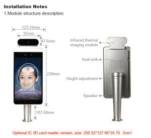 Quality 8inch AI Temperature Face Recognition Terminal Attendance Machine for sale