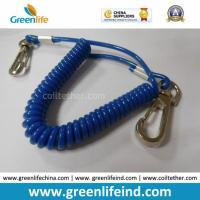 Quality Solid Blue Plastic Elastic Spring Belt Coil Bungee Lanyard for sale