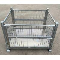 Quality Rigid Collapsible Wire Container With Dual Drop Gate Stackable 3 High for sale