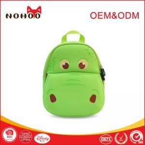 Quality Softback green Baby Toddler Backpack Lovely Hippo Shape 31*27*11.5cm for sale