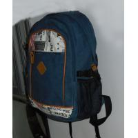 Backpack with cotton canvas,two main compartment , leather trims