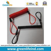 Quality Red/Black Custom Size Plastic PU Covered Wire Core Anti-theft Warning Coiled Cables for sale