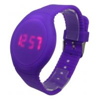 China Purple Round Face LED Digital Wrist Watch For Women With Logo Debossed on sale