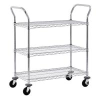 """Quality Adjustable Wire Shelf Cart With Pull Handle Restaurant 36"""" W X 14"""" D X 38"""" H for sale"""
