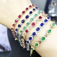 Quality Natural Diamond Gemstone Bracelets With Ruby / Emerald / Sapphire for sale