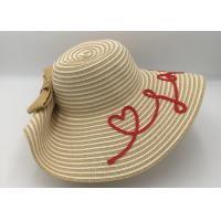 Quality Women's Bold Cursive Embroidered Adjustable Beach Floppy Sun Hat/summer straw hat for sale