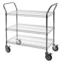 Quality Hospital Supplies Wire Utility Cart With Double Handle Push Bar Multifunctional for sale