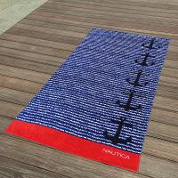 Best Cabana Blue And Red Striped Towel , Black Anchor Beach Towel 15 Colours wholesale