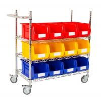 Quality Movable Industrial Wire Shelving With Plastic Storage Bins For Garages for sale