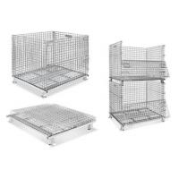 Quality Stackable Collapsible Wire Mesh Containers / Logistics Wire Metal Pallet Cage for sale