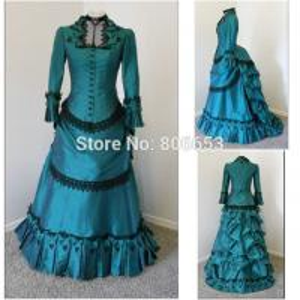 Quality Cosplay Civil War Dress Wholesale Civil War Dress Blue Taffeta Vintage Gothic Lolita dress victorian Southern belle dres for sale