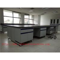 Quality 3000 mm  Wood Frame Blue /  White School Lab furniture Fume Hood For Chemistry Laboratory for sale