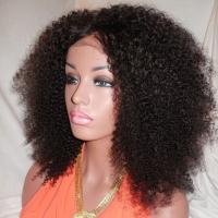 China Kinky Curly Human Natural Hair Silk Top Glueless Full Lace Human Hair Wig 24inch on sale