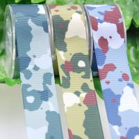 China Heat Transfer Polyster Ribbon , Camouflage Thick Grosgrain Ribbon For Garment Accessories on sale