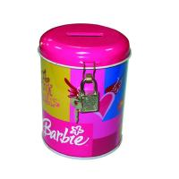 Quality round coin bank tin box with lock for sale