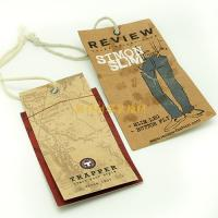 Quality Brown Color Personalized Swing Tag Labels With Print Logo For Teenager Jeans for sale